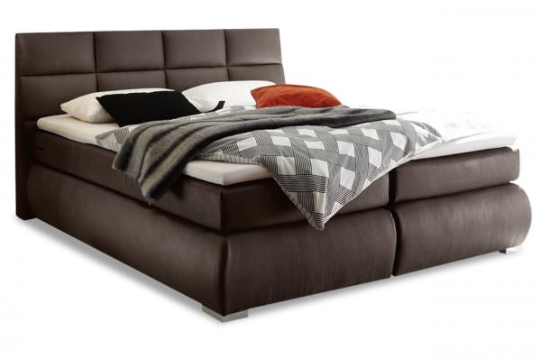 Black Red White Boxspringbett Kosali 160x200 - Mokka