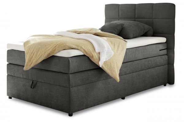 Black Red White Boxspringbett Tacoma 120x200 - Anthrazit