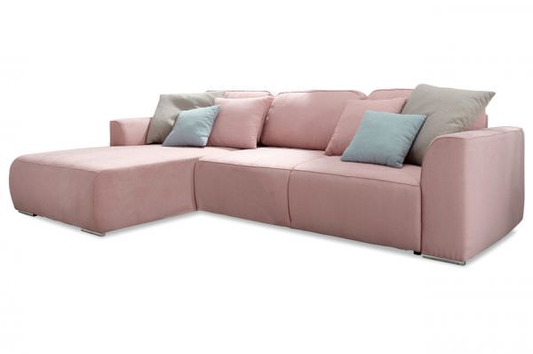 Black Red White Ecksofa Lazy - mit Schlaffunktion - Rosa