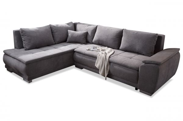 Black Red White Boxspring Ecksofa Malia - mit Schlaffunktion