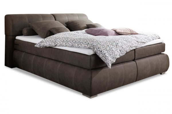 Black Red White Boxspringbett Felina 160x200 - Coffee