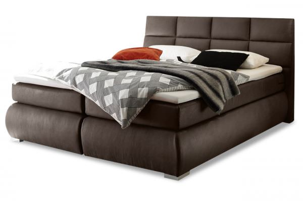 Black Red White Boxspringbett Kosali 180x200 - Mokka