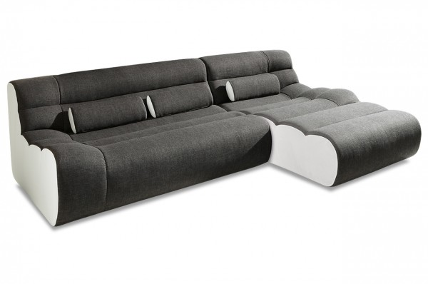 New Look Ecksofa Elements Rechts 280 cm - Weiß Anthrazit