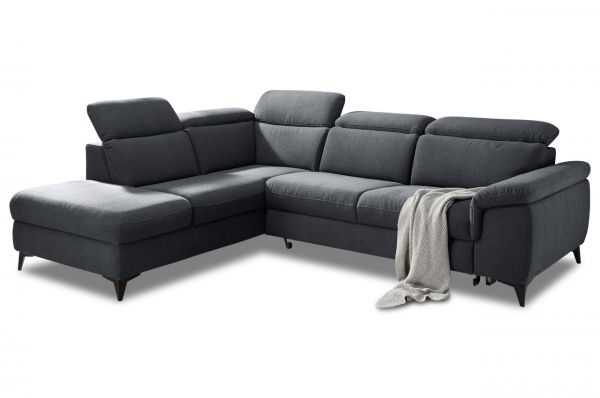 Black Red White Ecksofa Titus links - mit Schlaffunktion - Anthrazit