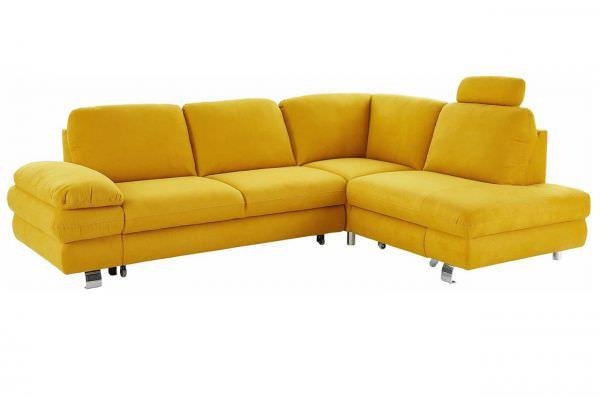 New Look Ecksofa Manhattan rechts - wahlweise mit Schlaffunktion - Gelb