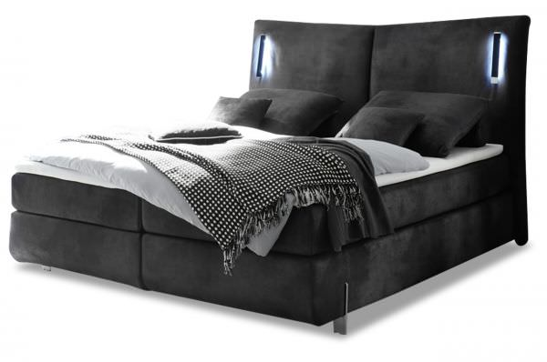 Black Red White Boxspringbett Los Angeles 180x200 - mit LED - Schwarz
