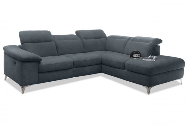 Black Red White Ecksofa XL Devonport rechts - mit Motor - Anthrazit