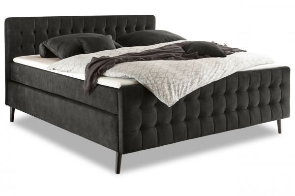 Black Red White Boxspringbett Scandi 180x200