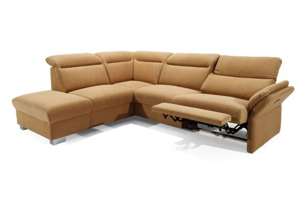 Ecksofa XL Reno links - mit elektrischer Verstellung - Orange