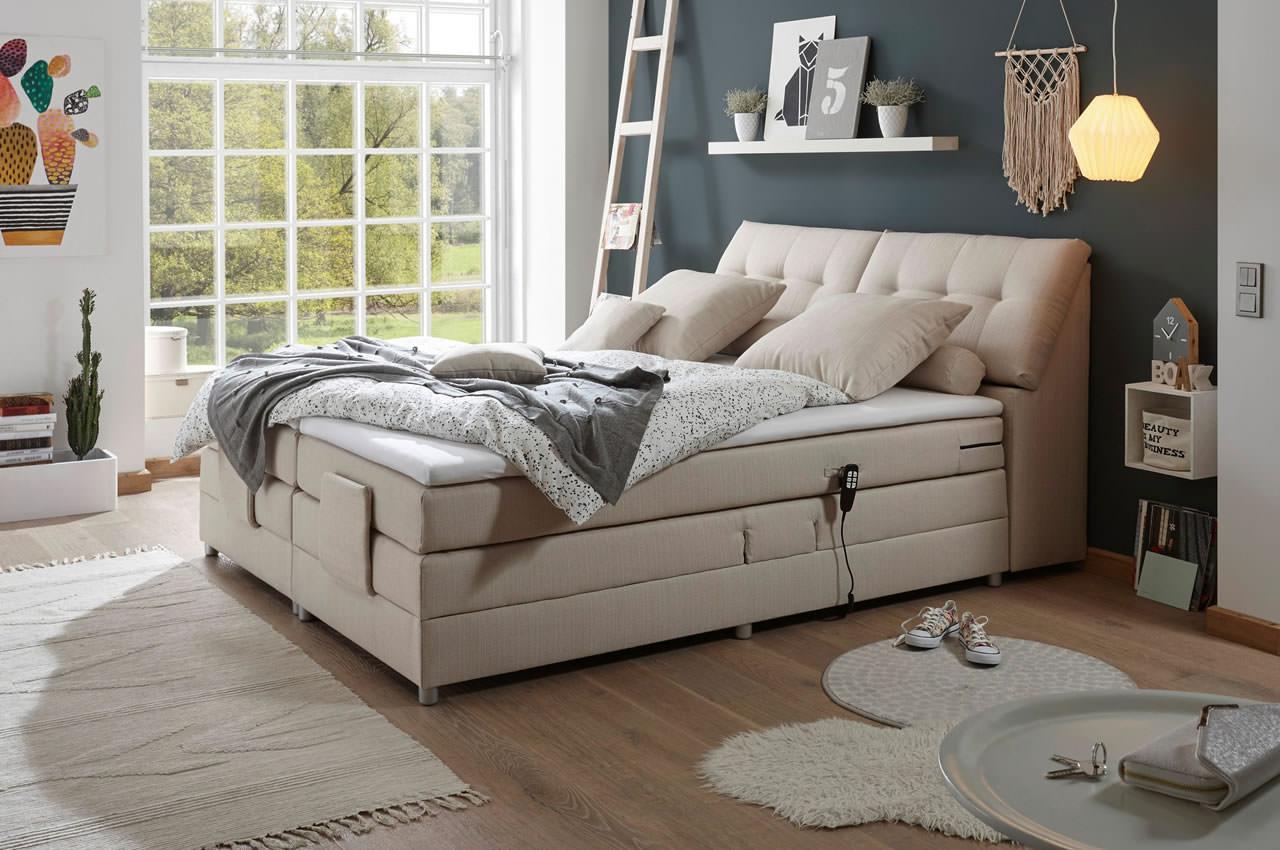black red white boxspringbett concord 180x200 mit motor. Black Bedroom Furniture Sets. Home Design Ideas