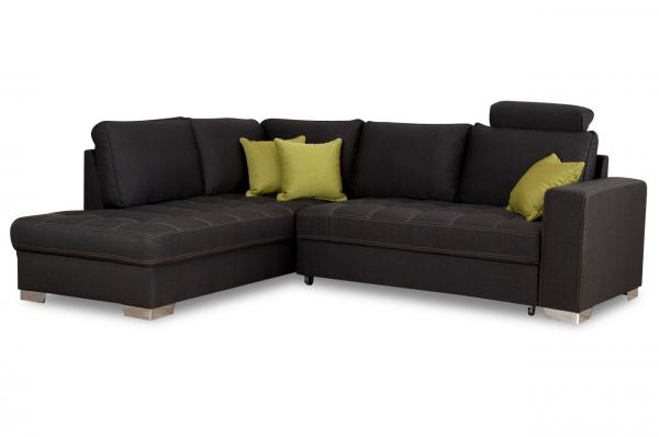 Ecksofa XL Nancy links - mit Schlaffunktion - Anthrazit