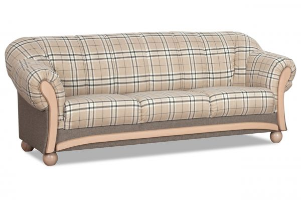 3 Sitzer-Sofa Wera - Karo Natur Weiss