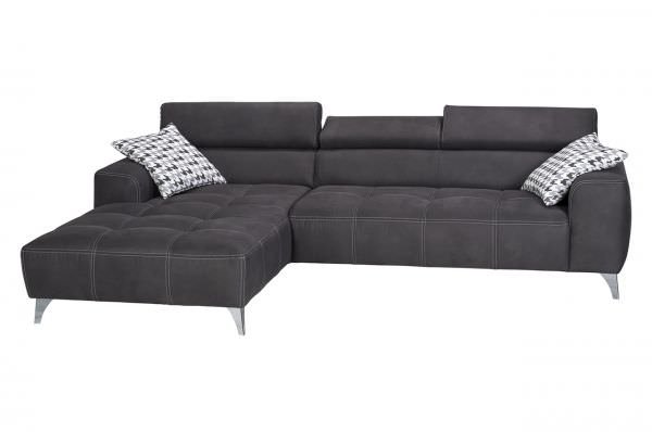 Ecksofa Bellinzona links - Anthrazit