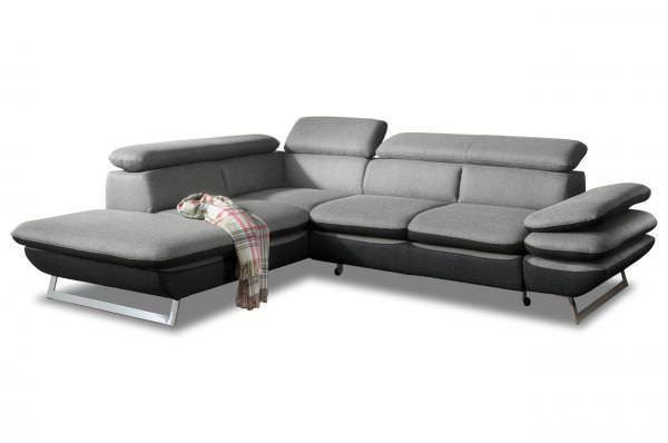 Cotta Ecksofa XL Prestige links - wahlweise mit Schlaffunktion - Grau