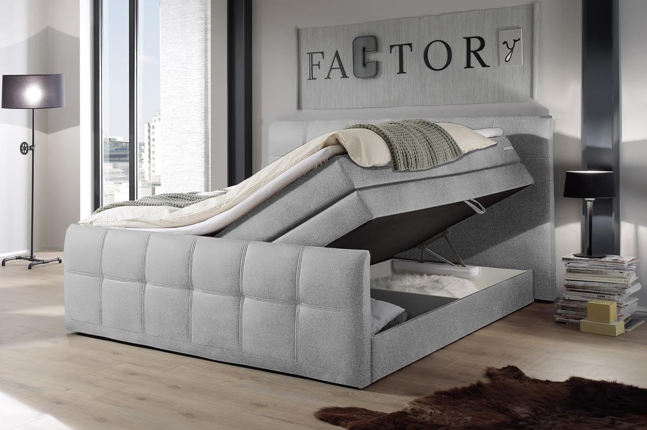 blackredwhite boxspringbett sacramento b 180x200 grau. Black Bedroom Furniture Sets. Home Design Ideas