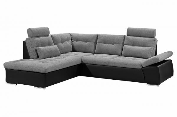 Black Red White Ecksofa XL Jakarta links - mit Schlaffunktion - Grau