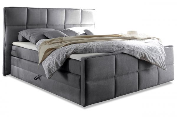Black Red White Boxspringbett Arvada 180x200 - Grau