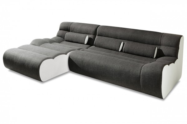 New Look Ecksofa Elements links 280 cm - Weiß Anthrazit