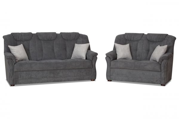 Garnitur 3er und 2er Linus Linz - wahlweise mit Sessel - Grau